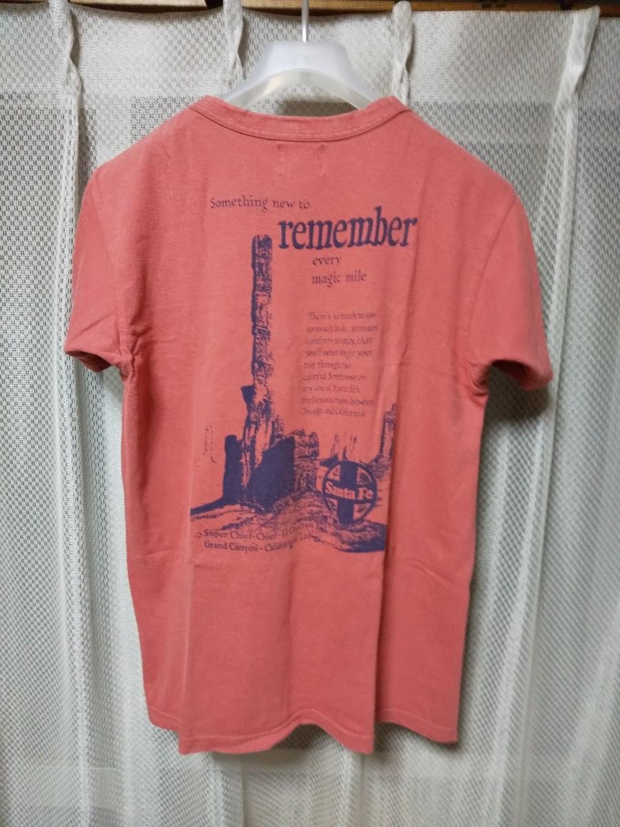 JOE McCOY ジョーマッコイ リアルマッコイズ プリント 半袖Tシャツ 36 Sサイズ vintage used加工 赤 ピンク 日本製 RRL_●両サイド=丸胴(縫い目無し)