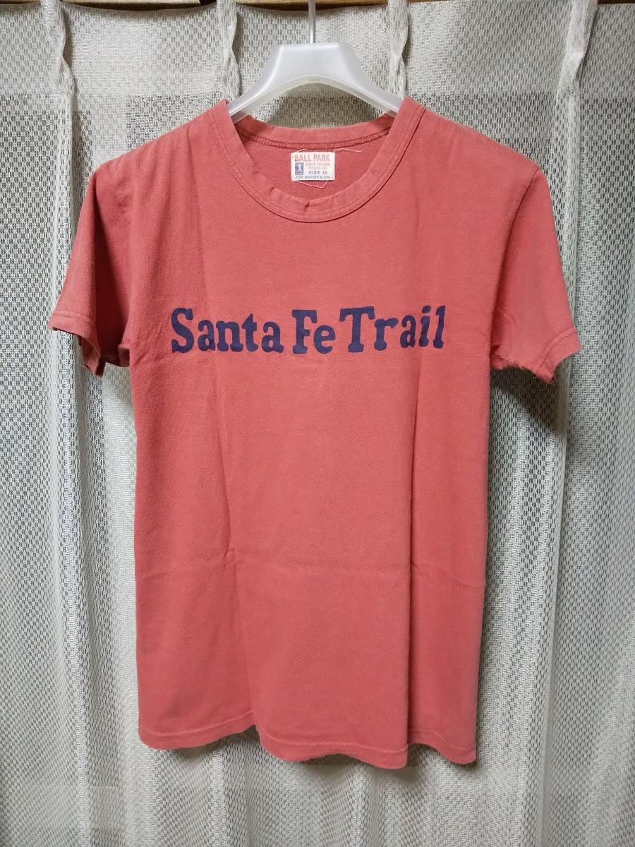 JOE McCOY ジョーマッコイ リアルマッコイズ プリント 半袖Tシャツ 36 Sサイズ vintage used加工 赤 ピンク 日本製 RRL_光の加減で全体的に明るめに写っています。