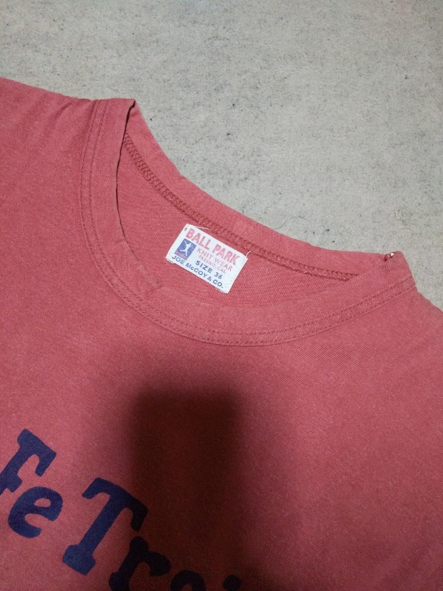 JOE McCOY ジョーマッコイ リアルマッコイズ プリント 半袖Tシャツ 36 Sサイズ vintage used加工 赤 ピンク 日本製 RRL_●状態=全体的に概ね良好