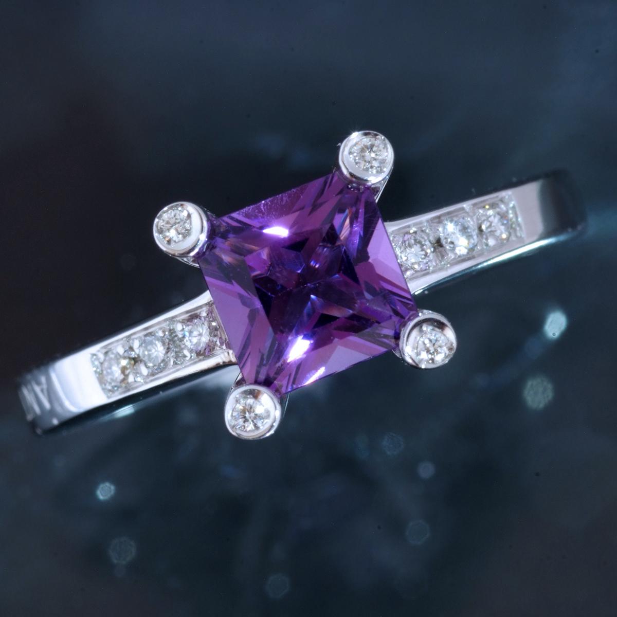 E8656【ANTONINI】アントニーニ アメジスト 天然絶品ダイヤモンド 最高級18金WG無垢リング S9.5号 重量4.95g 縦幅8.1mm【買取&下取可能】_画像1