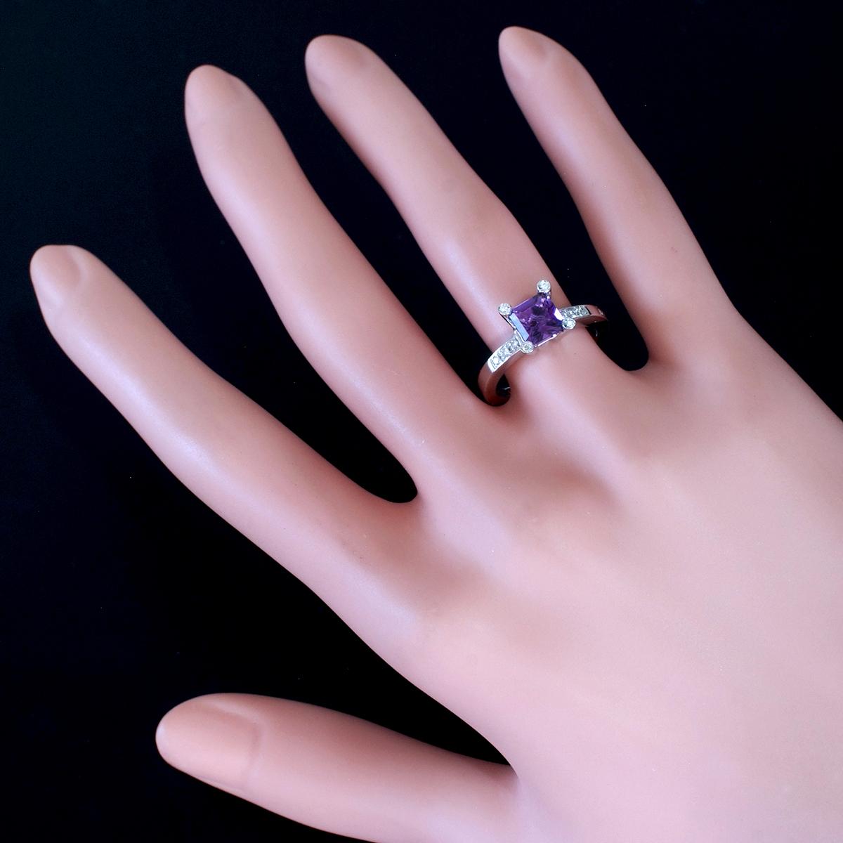 E8656【ANTONINI】アントニーニ アメジスト 天然絶品ダイヤモンド 最高級18金WG無垢リング S9.5号 重量4.95g 縦幅8.1mm【買取&下取可能】_画像4