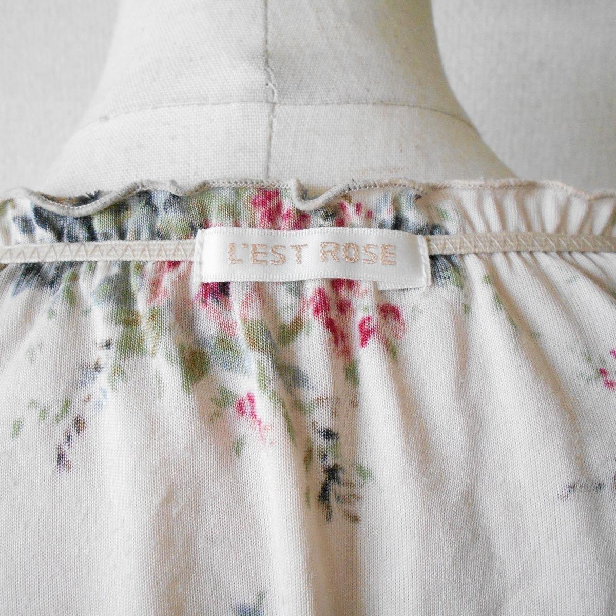 レストローズ LEST ROSE 秋冬 向き 花柄 プリント の 可愛い ベロア 長袖 カットソー 日本製 2_画像7