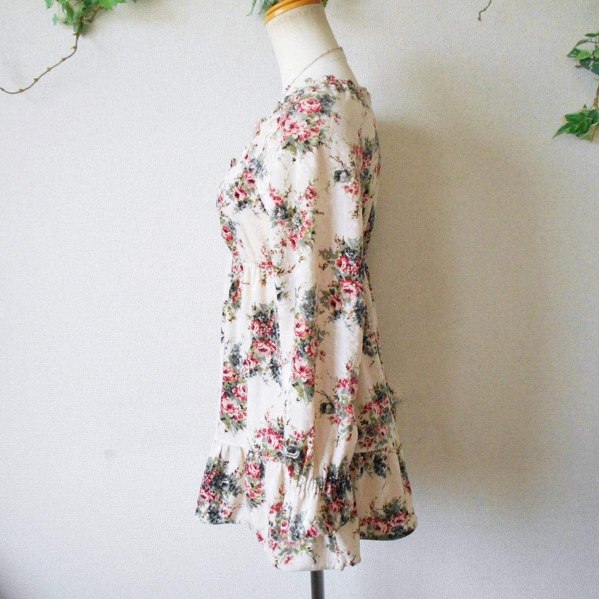 レストローズ LEST ROSE 秋冬 向き 花柄 プリント の 可愛い ベロア 長袖 カットソー 日本製 2_画像5