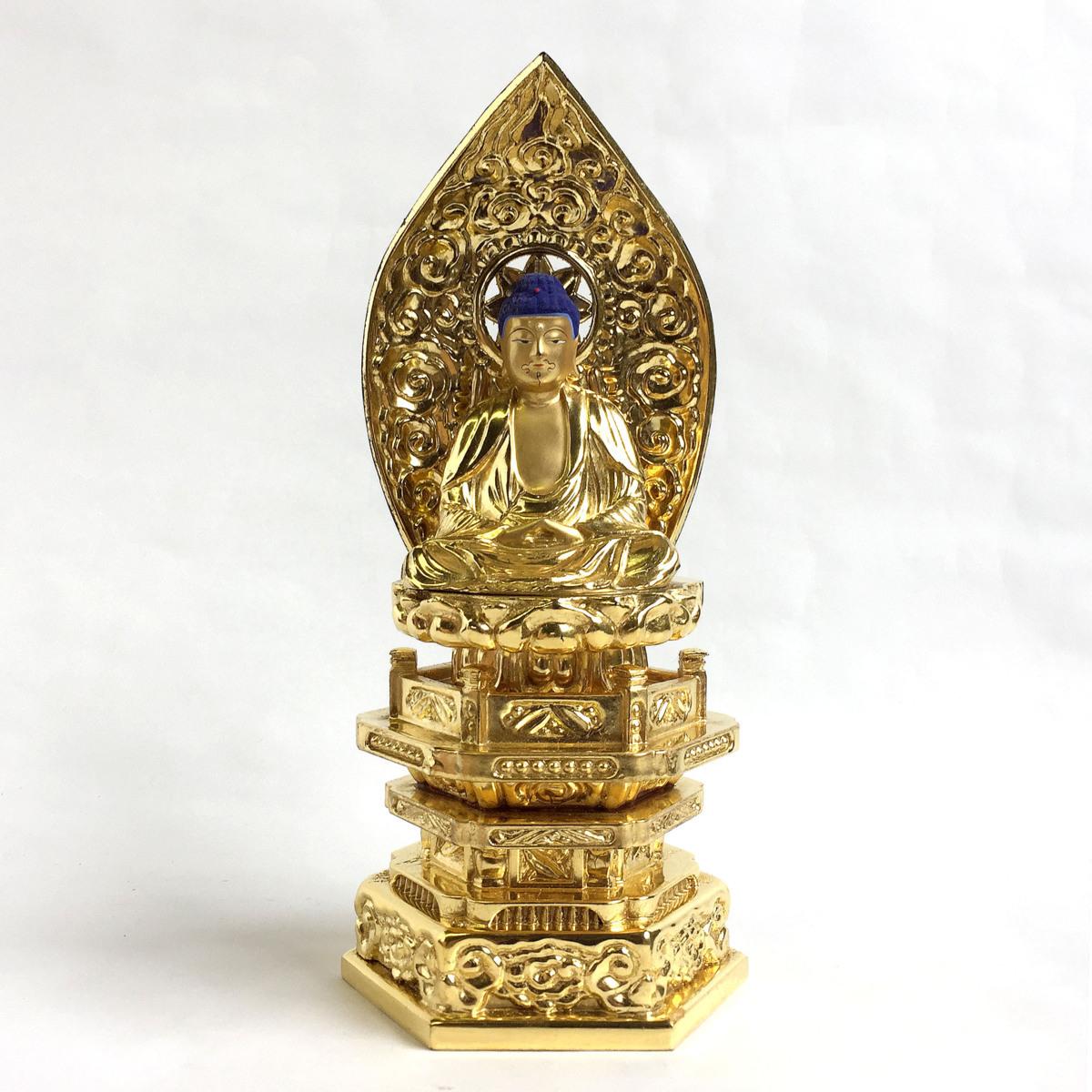2345 座釈迦 釈迦如来 座像 ご本尊 仏像 仏教 純金中七肌粉仕上げ 2.0号 高さ約21cm リサイクル アンティーク 紀の国屋_画像1