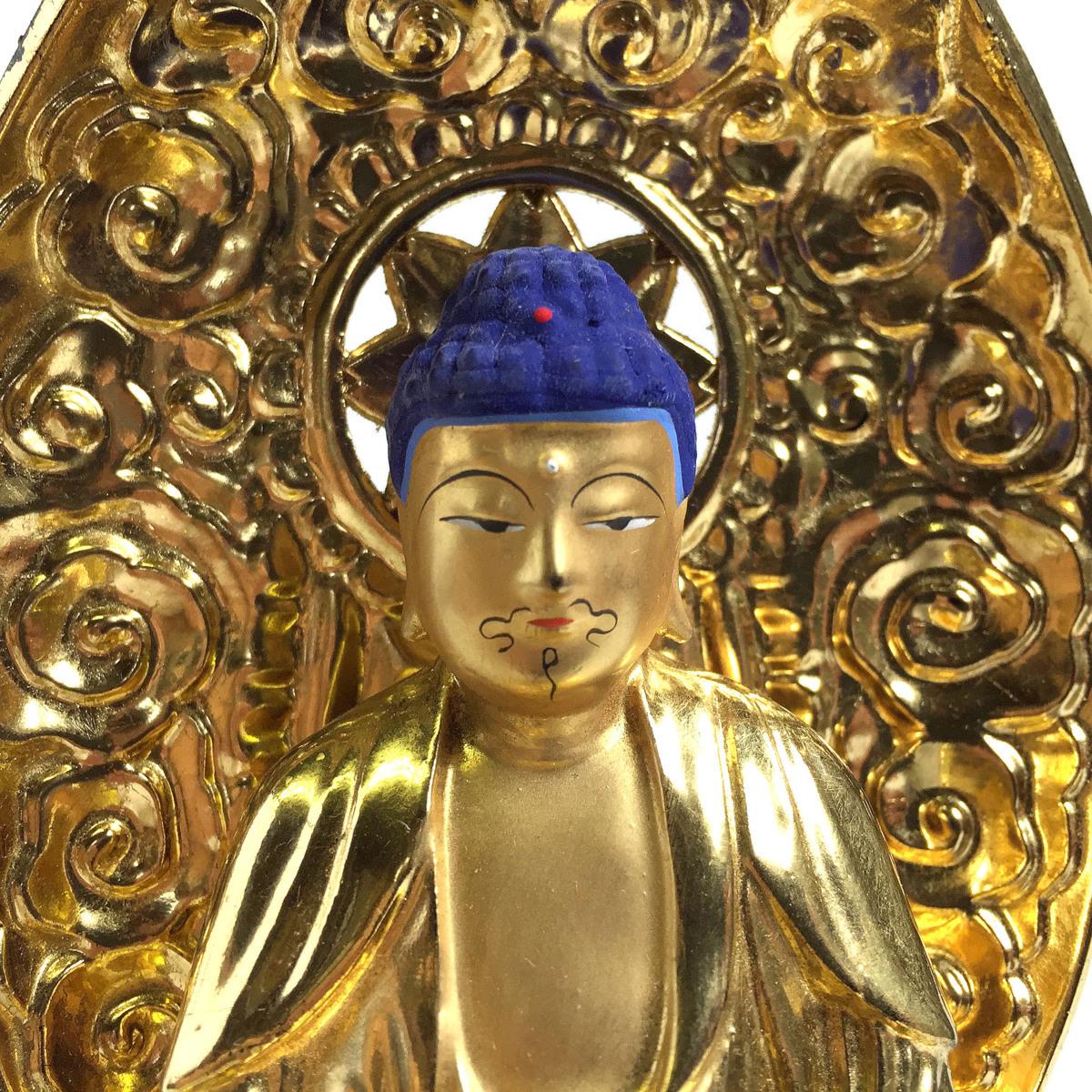 2345 座釈迦 釈迦如来 座像 ご本尊 仏像 仏教 純金中七肌粉仕上げ 2.0号 高さ約21cm リサイクル アンティーク 紀の国屋_画像5