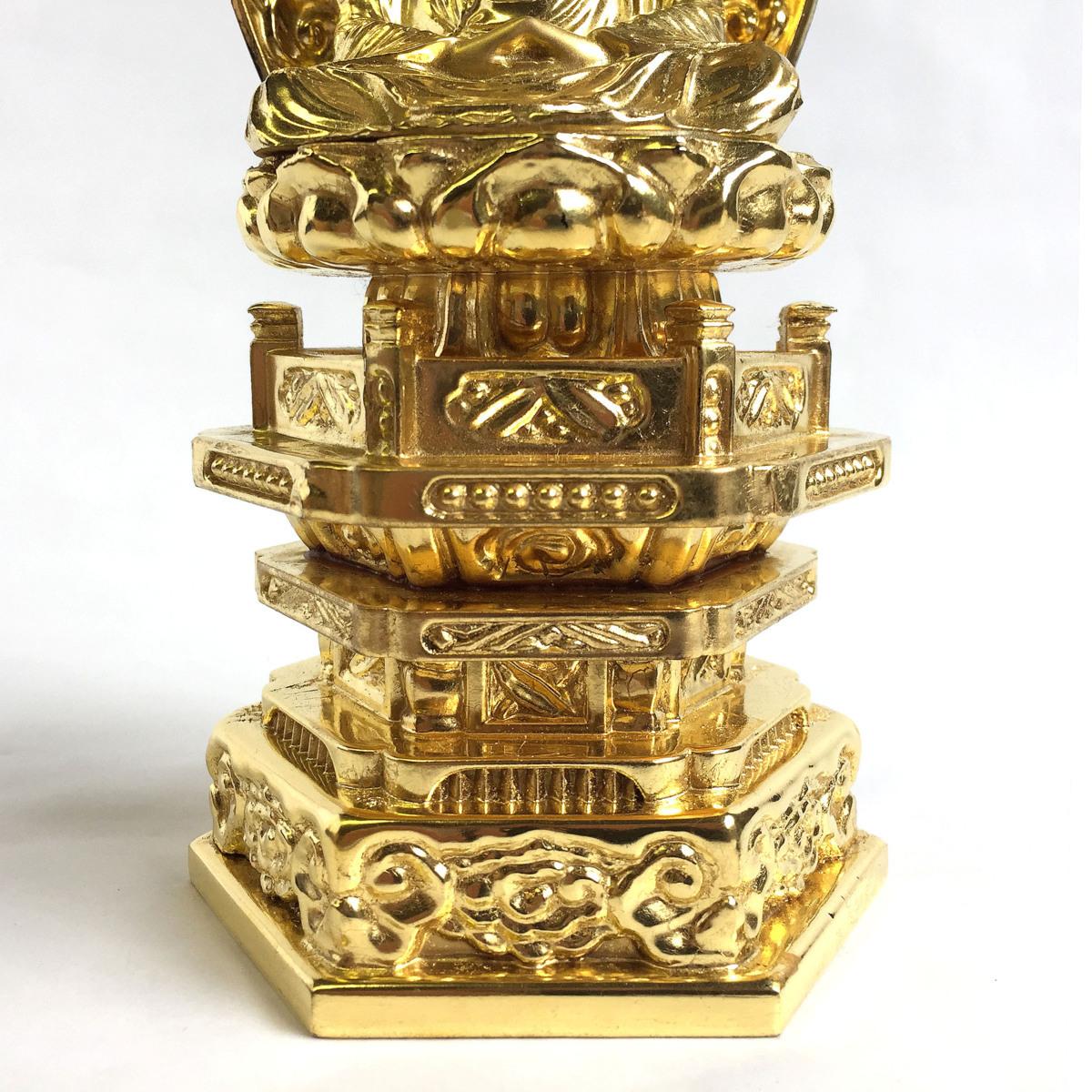 2345 座釈迦 釈迦如来 座像 ご本尊 仏像 仏教 純金中七肌粉仕上げ 2.0号 高さ約21cm リサイクル アンティーク 紀の国屋_画像6