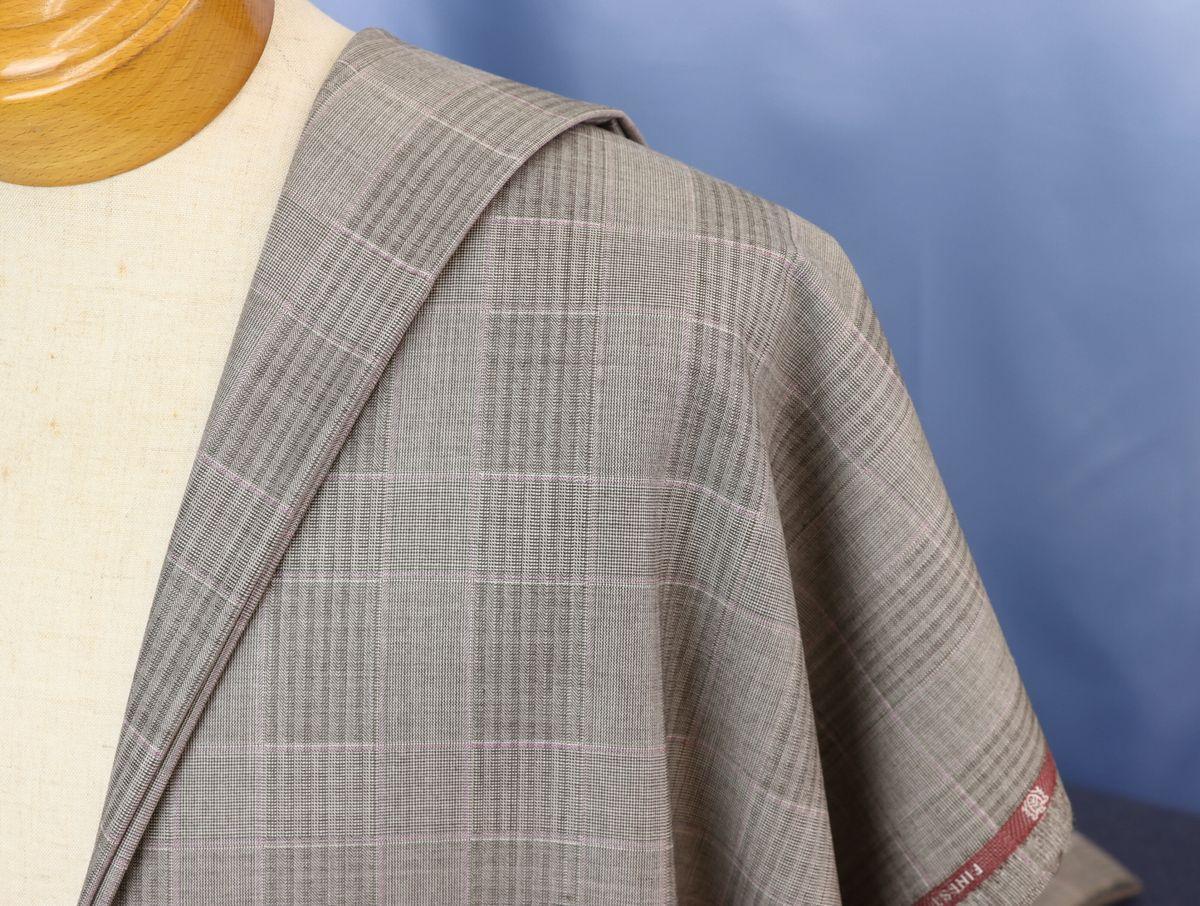 ★ドーメル社の超高級品「アンバサダー」生地価格90万円・今風グレージュにオシャレグレンチェック