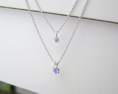 送料無料 12月の誕生石 タンザナイト シルバーアクセサリー 純銀 シルバー925 ダイヤモンド ネックレス 誕生日プレゼント ギフト BOX付_画像2
