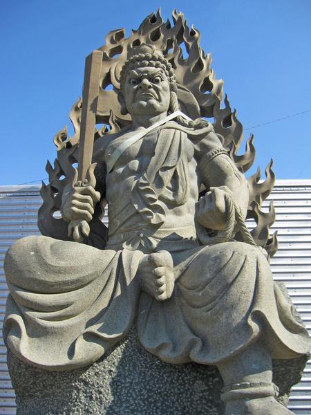 高さ約2m80cm 「不動明王半跏像」 天然青御影石彫刻 仏像 大迫力 石像 石仏