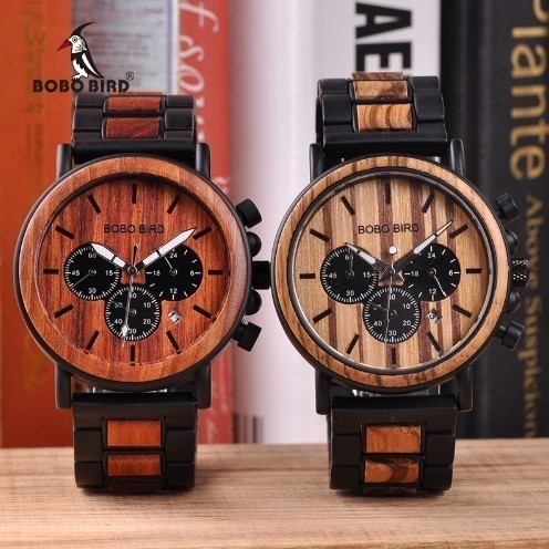 [ free shipping * fastest delivery ] men's wristwatch man antique settled atmosphere wooden quartz chronograph present BOBO BIRD recommendation