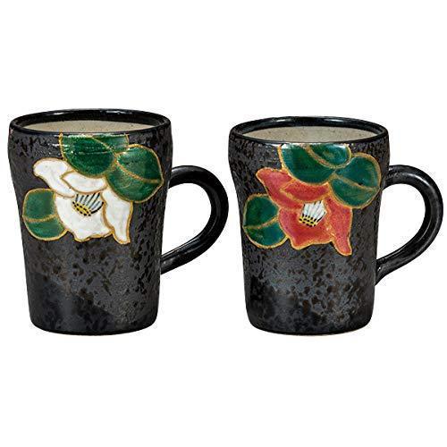 九谷焼! ☆天目二色椿ペアマグカップ☆ K6-943 新品 コーヒー 紅茶 茶器 ギフト ※_画像1