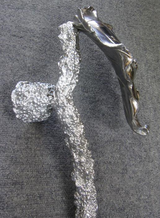 高級 鋳物 ドアハンドル 取っ手 ハンドメイド 一点もの 葉模様 重厚 美術品 アルミ 建築金具 プルハンドル 全長約63cm_画像4