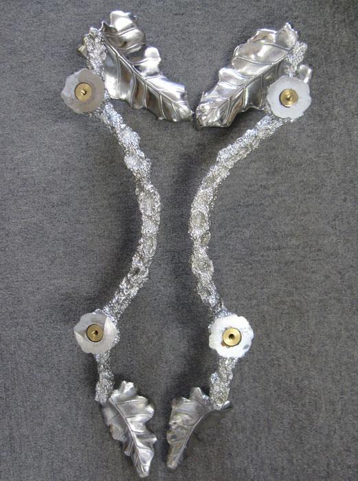 高級 鋳物 ドアハンドル 取っ手 ハンドメイド 一点もの 葉模様 重厚 美術品 アルミ 建築金具 プルハンドル 全長約63cm_画像6
