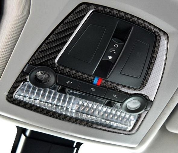 BMW ルーム ランプ ライト カバー ルーフ デカール インテリア トリム F10F11F07 F25F26 X3X4 Mスポーツなど 黒 カーボン柄 Mカラー_画像1