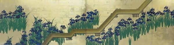模写漆絵 尾形光琳の名作_八ツ橋図 NH59 ユーラシアアート_画像1