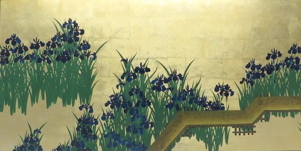 模写漆絵 尾形光琳の名作_八ツ橋図 NH59 ユーラシアアート_画像3