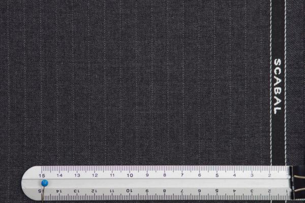 ■スキャバル社・超高級・ミドルグレーに極細ペンシルストライプ_画像2