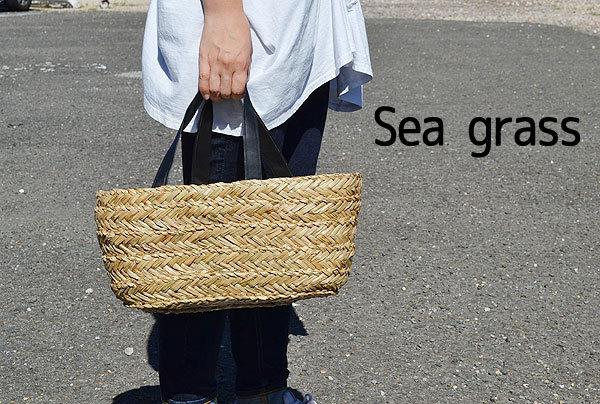 【 送料無料 沖縄・北海道を除く 】 シーグラス 横長 かごバッグ 『ブラック』 内布付き ナチュラル カゴバッグ シンプル 収納 *B*_画像2