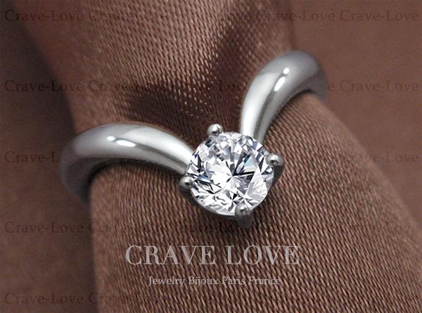 【14号】 ソリティア ( 一粒石 ) 曲線 レディース ステンレス リング 指輪 女性 立爪 V字リング シルバーリング 人気 ファッションリング