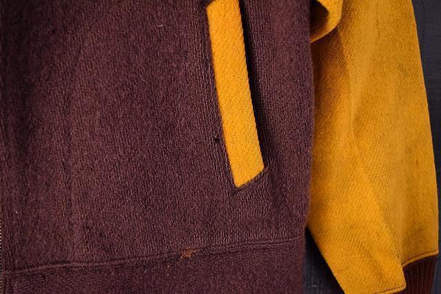 【自動値下げ対象外】 ビンテージ 30's Jerstman SPORTSWEAR Gentral ツートーン ウール スポーツジャケット 鳩目 ハトメ コの字 古着_画像9