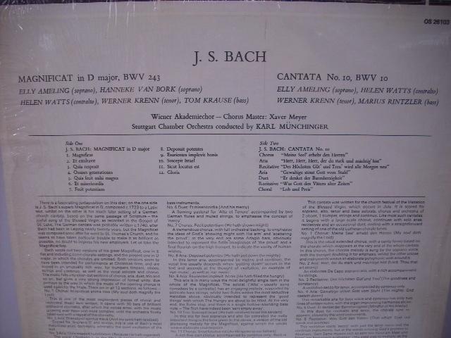 ■LP カール・ミュンヒンガー指揮、ウィーン・アカデミー室内合唱団、シュトゥットガルト室内管弦楽団 / バッハ:マニフィカト US盤_画像2