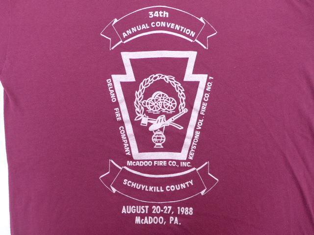 L★古着 ビンテージ Tシャツ 80年代 消防署 USA製 エンジ 中古 メンズ 半袖_画像4