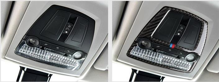 BMW ルーム ランプ ライト カバー ルーフ デカール インテリア トリム F10F11F07 F25F26 X3X4 Mスポーツなど 黒 カーボン柄 Mカラー_画像2