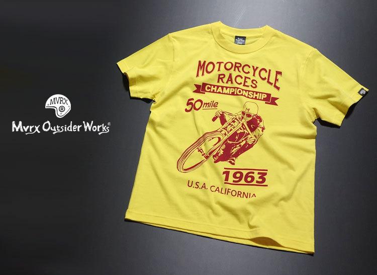 MVRX ブランド 半袖 Tシャツ S バイク オートバイ プリント MOTORCYCLE RACE モデル / イエロー 黄色_画像2