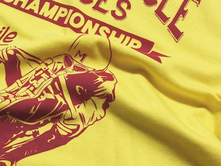 MVRX ブランド 半袖 Tシャツ S バイク オートバイ プリント MOTORCYCLE RACE モデル / イエロー 黄色_画像4