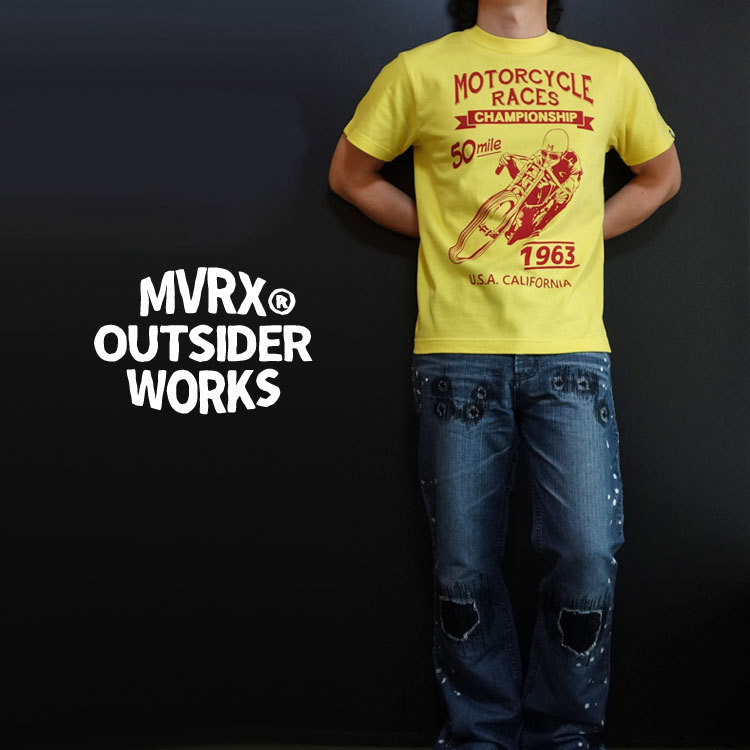 MVRX ブランド 半袖 Tシャツ S バイク オートバイ プリント MOTORCYCLE RACE モデル / イエロー 黄色_画像1