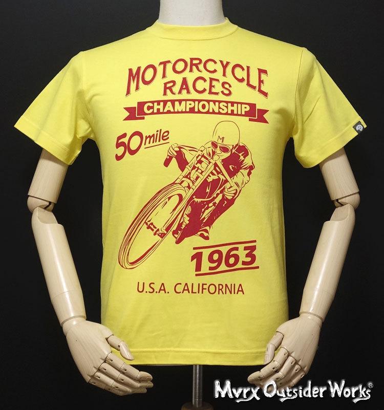 MVRX ブランド 半袖 Tシャツ S バイク オートバイ プリント MOTORCYCLE RACE モデル / イエロー 黄色_画像3