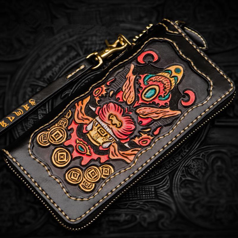 高級手作り彫刻財布ジッパー財布男性ロングクラッチ野菜なめし革財布カードホルダー 1_画像3