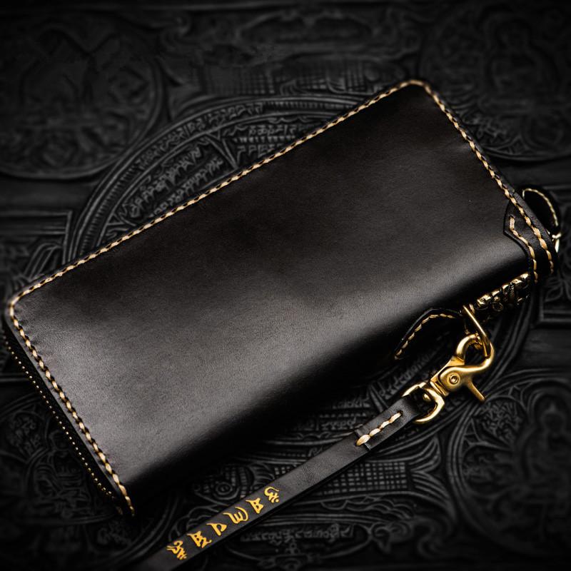 高級手作り彫刻財布ジッパー財布男性ロングクラッチ野菜なめし革財布カードホルダー 1_画像2