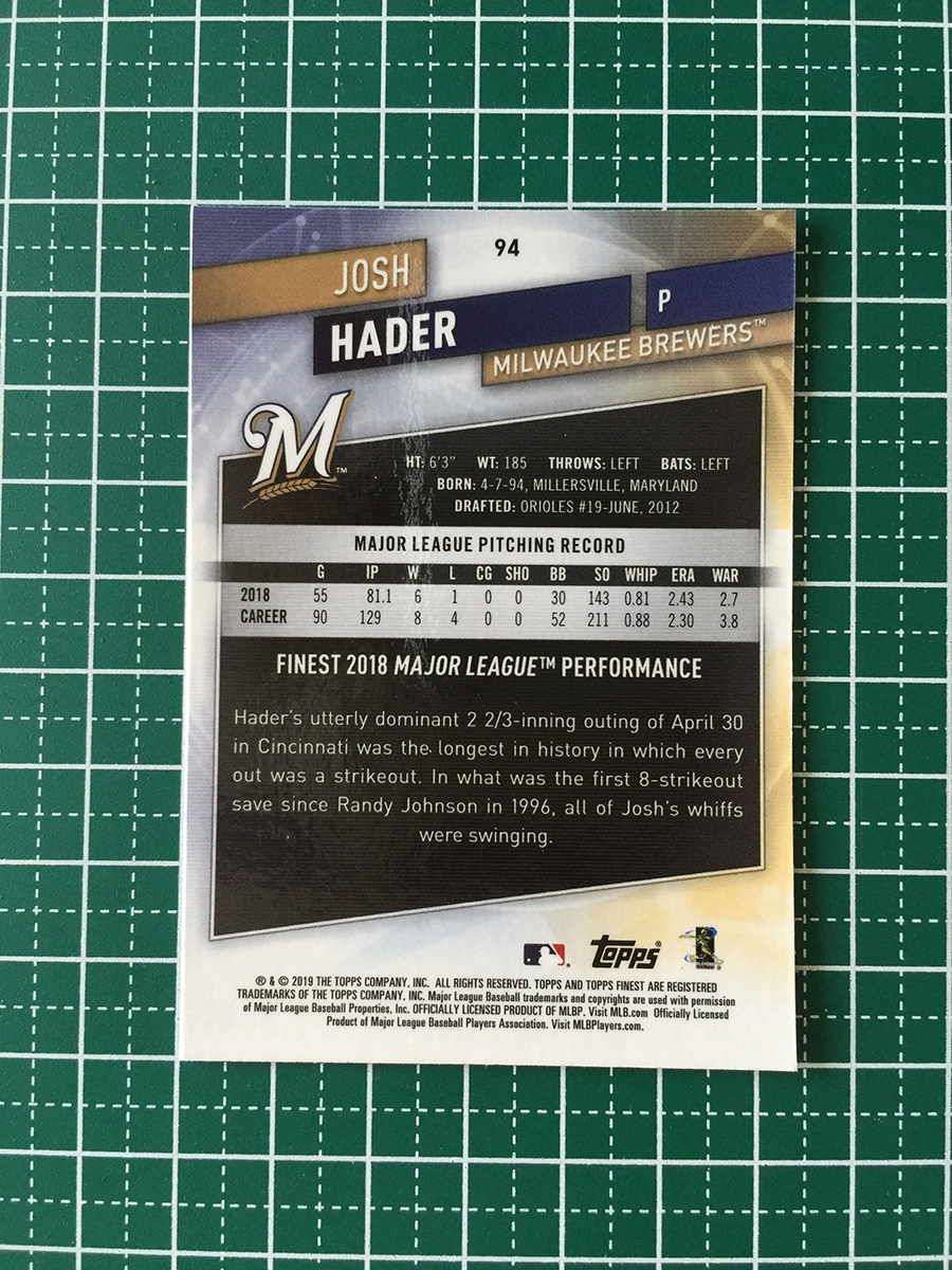 即決のみ!★TOPPS MLB 2019 FINEST BASEBALL #94 JOSH HADER[MILWAUKEE BREWERS]ベースカード 19★_画像2