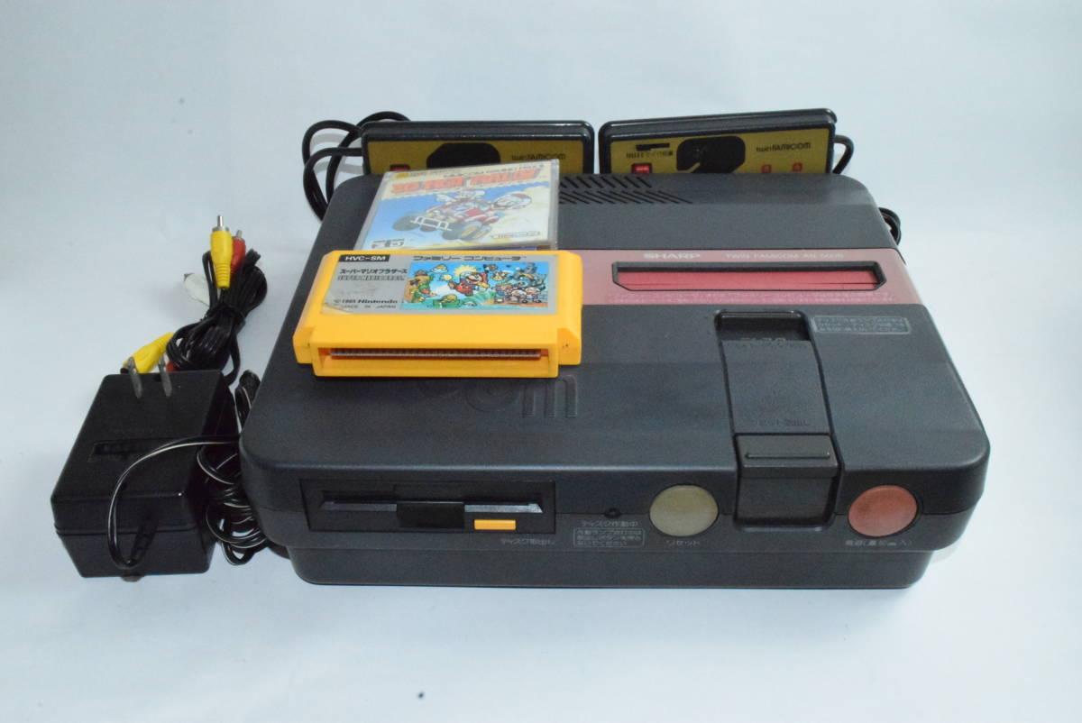 SHARP AN-500B ツインファミコン 本体 中古 カセット ディスク付き