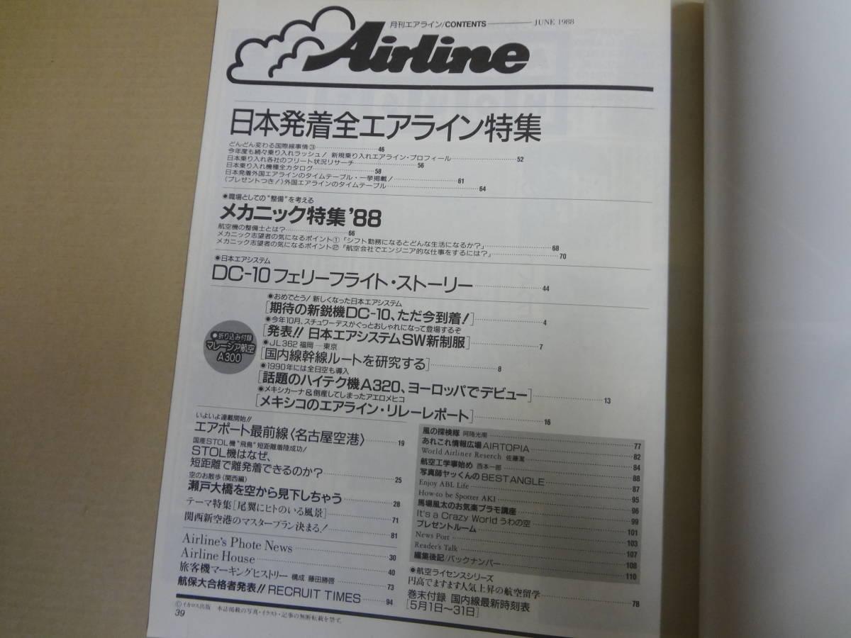 月刊エアライン 特集・日本発着全エアライン 1988年6月 イカロス出版_画像4