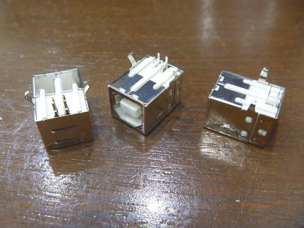 3) 基板取付用 USBコネクタ Bタイプ メス 3個 新品未使用_画像1