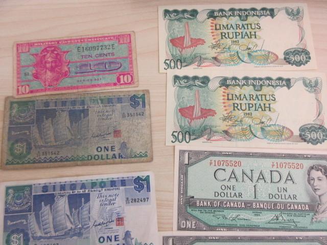 外国紙幣まとめて アメリカ、台湾、中国、シンガポール、カナダ、インドネシア #7908~_画像3