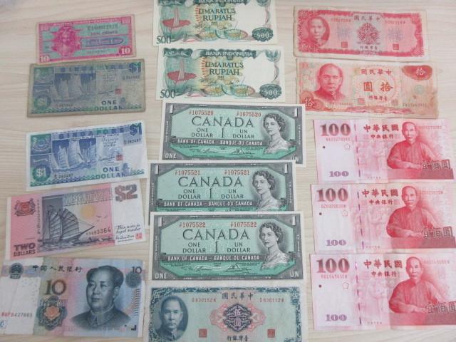 外国紙幣まとめて アメリカ、台湾、中国、シンガポール、カナダ、インドネシア #7908~