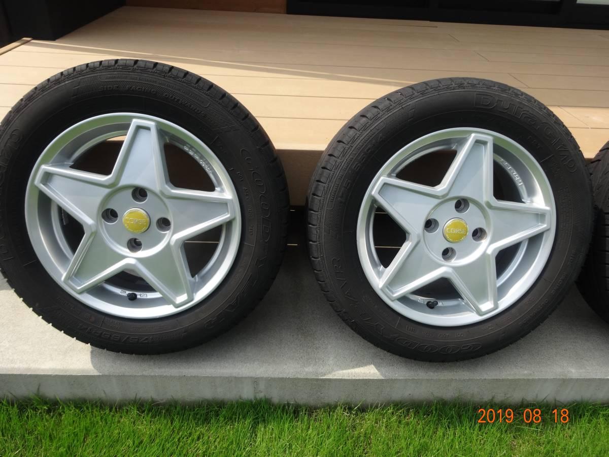AGA CORSE 14inch[175/65R14]フィアット500 FIAT スター型アルミホイール&サマータイヤ4本セット GOODYEAR _画像2