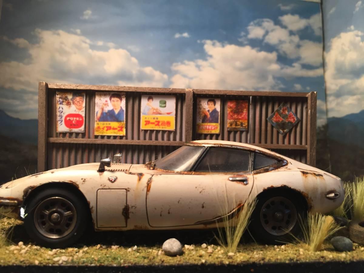 1/32 トヨタ 2000GT LEDライトアップ 昭和レトロな風景 旧車 自作ジオラマ完成品 ケース付_画像2