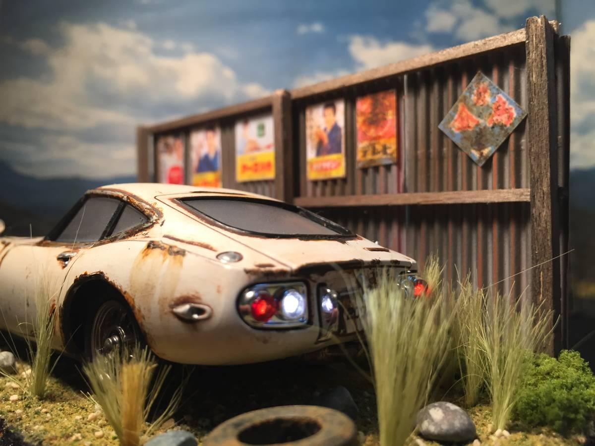 1/32 トヨタ 2000GT LEDライトアップ 昭和レトロな風景 旧車 自作ジオラマ完成品 ケース付_画像3