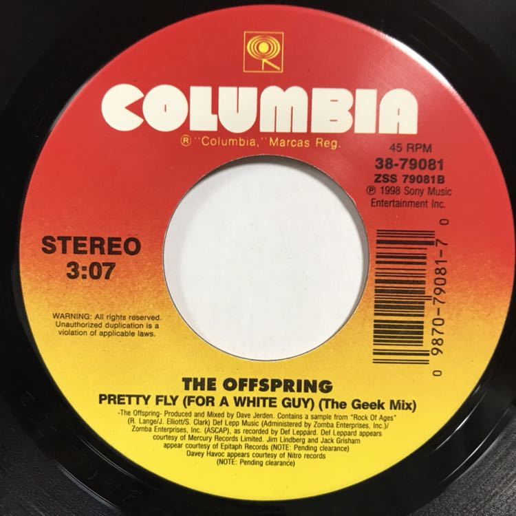 THE OFFSPRING PRETTY FLY(FOR A WHITE GUY)7inch 7インチ 45 EP 90s 名曲 オフスプリング rock of ages ロック メロコア_画像2