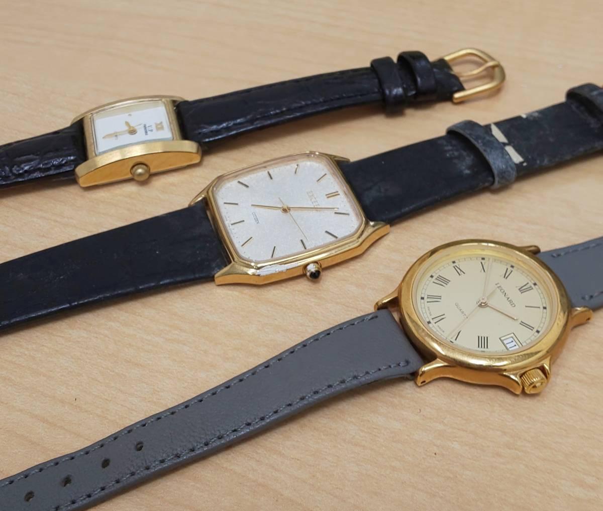 【5008】レディース 腕時計 ジャンク / ANTIMAG4800 citizen EXCEED / u.p renoma レノマ クオーツ / leonard レオナール_画像9