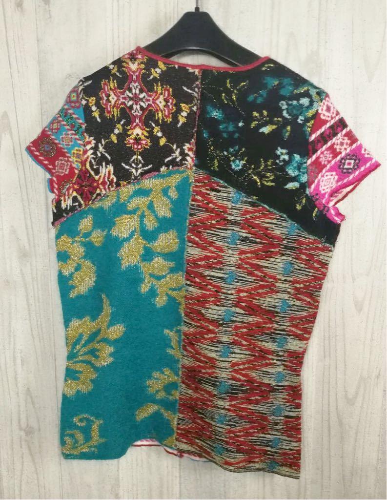 (G) 美品 KENZO ケンゾー レディース 柄切り替え 半袖 ウール Tシャツ トップス_画像2