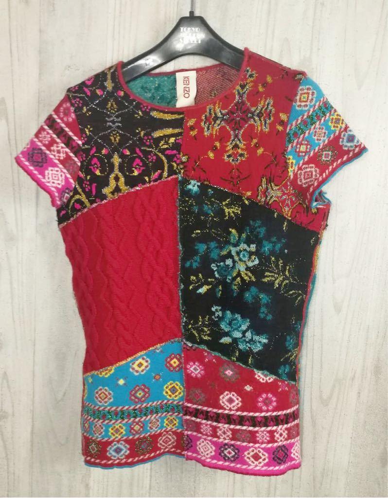 (G) 美品 KENZO ケンゾー レディース 柄切り替え 半袖 ウール Tシャツ トップス_画像1
