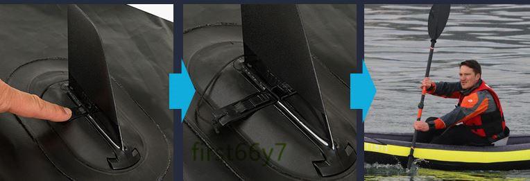 人気新品!多機能 折り畳み便利 インフレータ 魚釣り 漂流 ダイビング アウトドア カヌー、カヤック ゴムボート3人用382*108cm 17kg _画像4