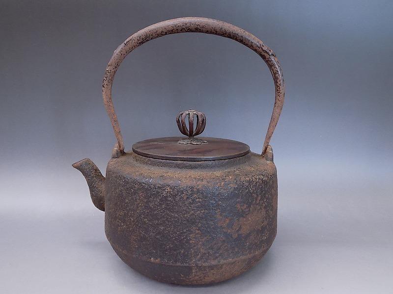 紫金堂 名人 加藤忠三郎造 鉄瓶 斑柴銅蓋 湯沸し 煎茶道具 本物保証_画像1