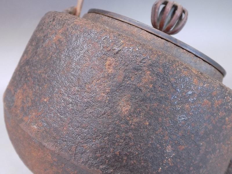紫金堂 名人 加藤忠三郎造 鉄瓶 斑柴銅蓋 湯沸し 煎茶道具 本物保証_画像8