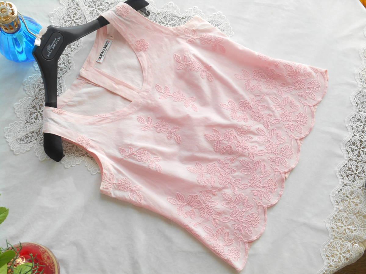 イタリア製*nara camicie*可憐な豪華刺繍のベビーピンクブラウス*背中ボタン*手染めコットンエンブロイダリー綿*ナラカミーチェ*1*Mサイズ*_画像4